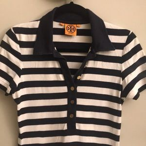 Tory Burch Stripped Polo Shirt Size Medium
